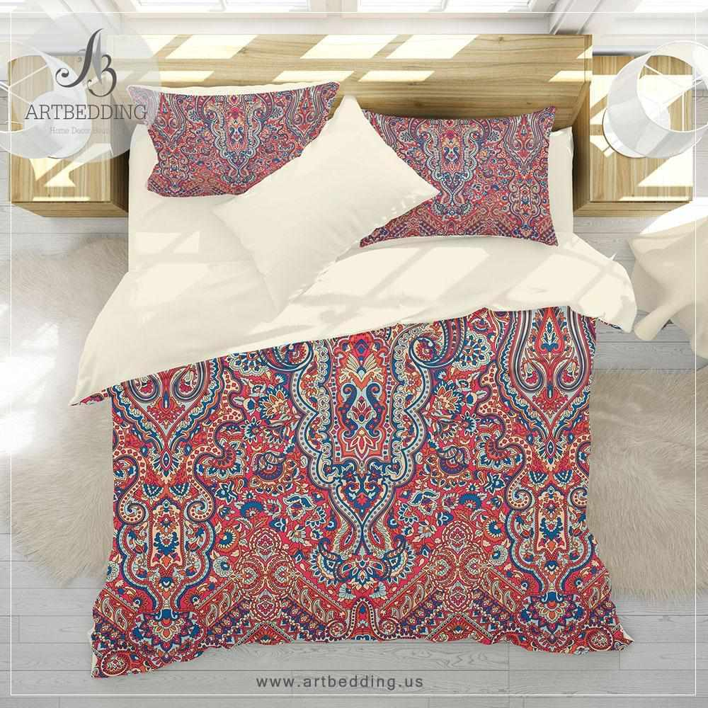 Boho vintage bedding, Indie green and blue duvet cover set, Traditional India boho comforter set, boho bedroom decor Bedding set