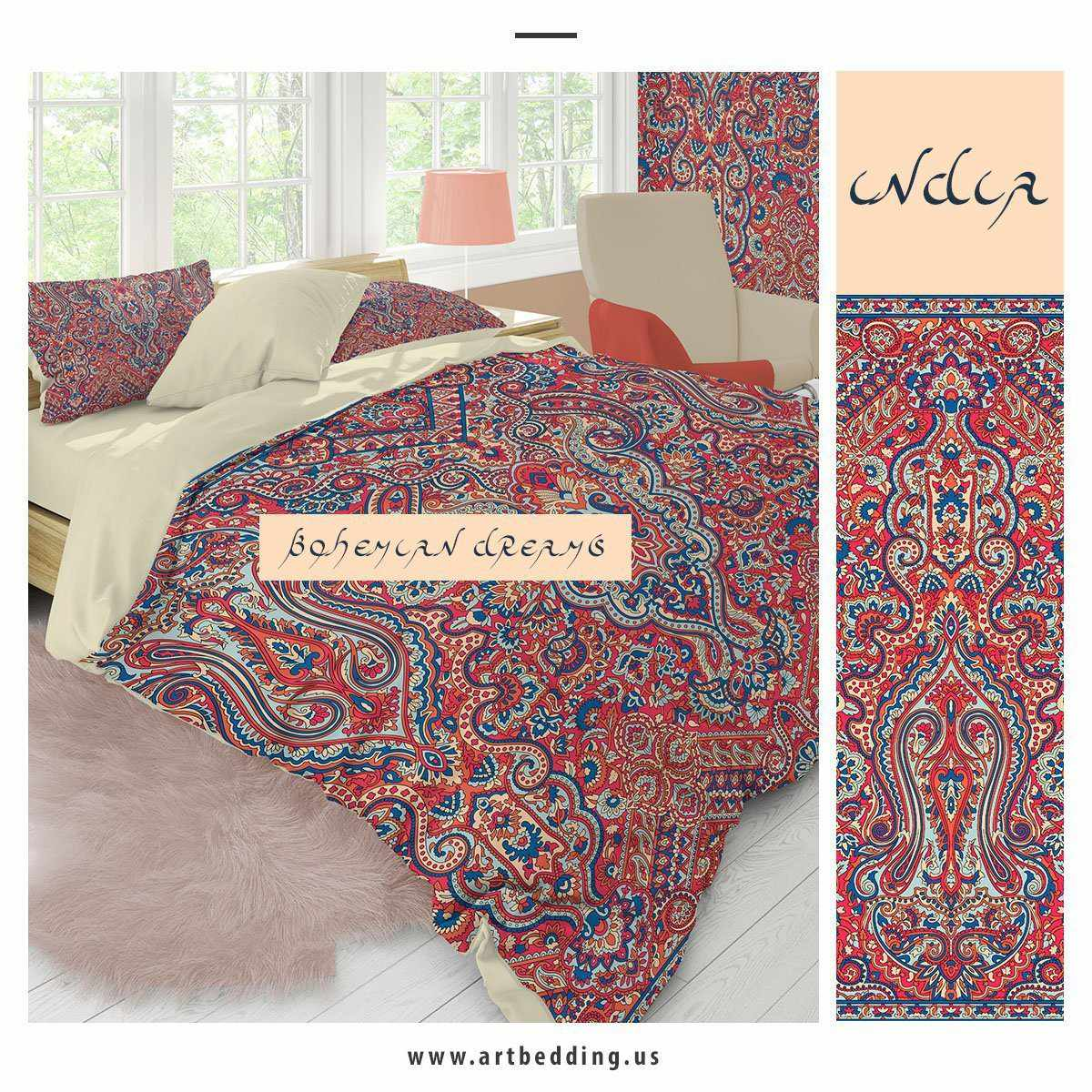 Ethno Indie Boho Bedding Indie Living Coral And Pink Duvet Cover Set Artbedding
