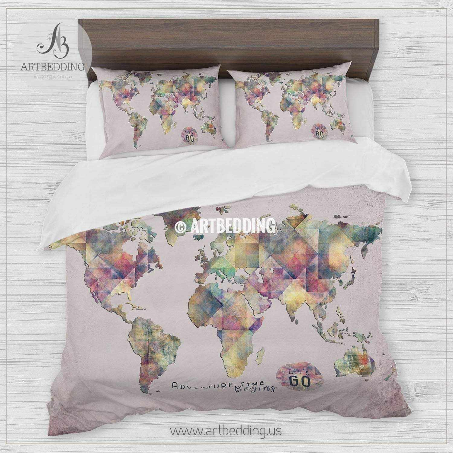 World Map Bedding 6 Colors Duvet Cover World Map Bedding Set World ...