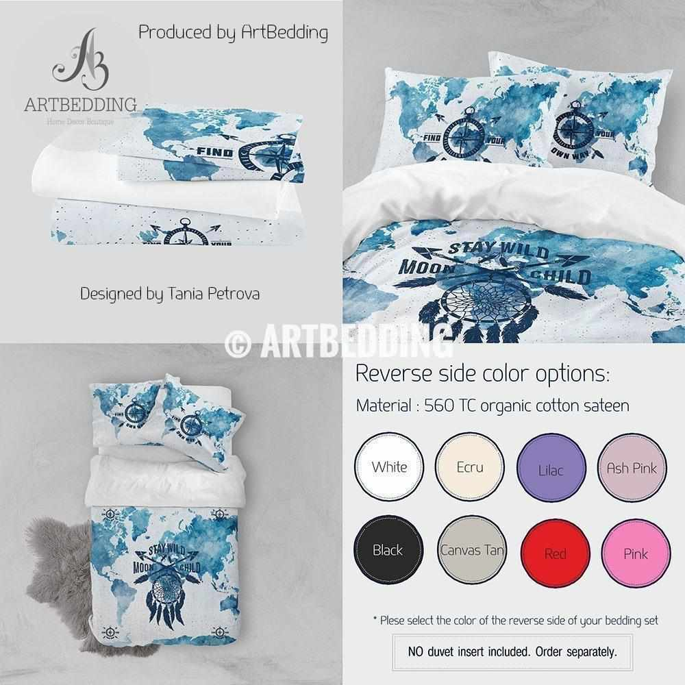 Boho Watercolor world map dreamcatcher bedding, Dreamcatcher blue duvet cover set, Boho Stay Wild comforter set Bedding set