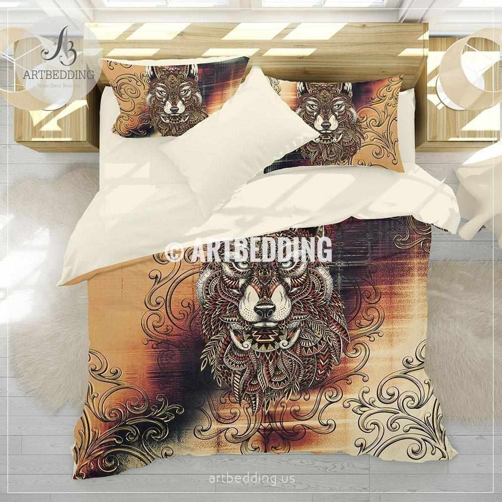 Boho wolf spirit animal bedding, Doodle white and black wolf duvet bedding set, Wolf totem comforter set Bedding set