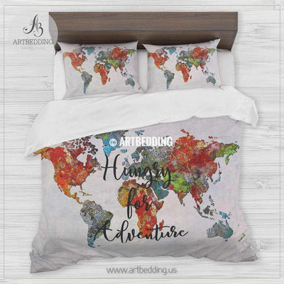 Boho world map bedding, Travel map ``Hungry for adventure`` duvet cover set, Modern travel map comforter set Bedding set