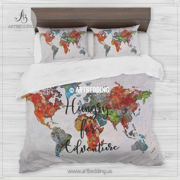 Boho World Map Bedding Travel Map Hungry For Adventure