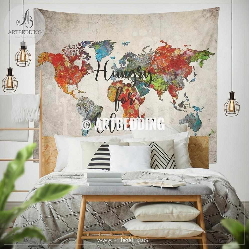 Boho world map bedding, Travel map ``Hungry for adventure`` duvet ...