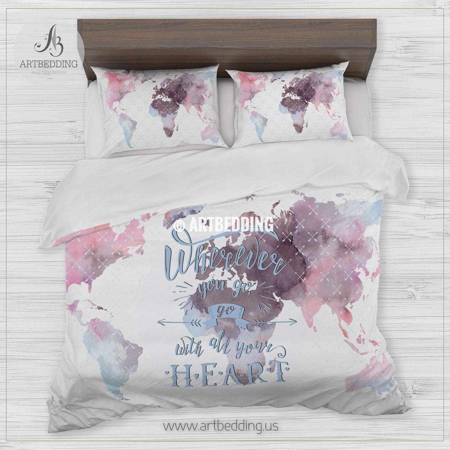 World Map Comforter Boho world map bedding, Watercolor map quote duvet cover set  World Map Comforter