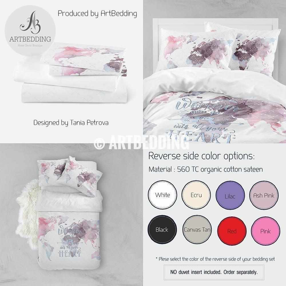 Boho world map bedding, Watercolor map quote duvet cover set, Modern travel map comforter set Bedding set