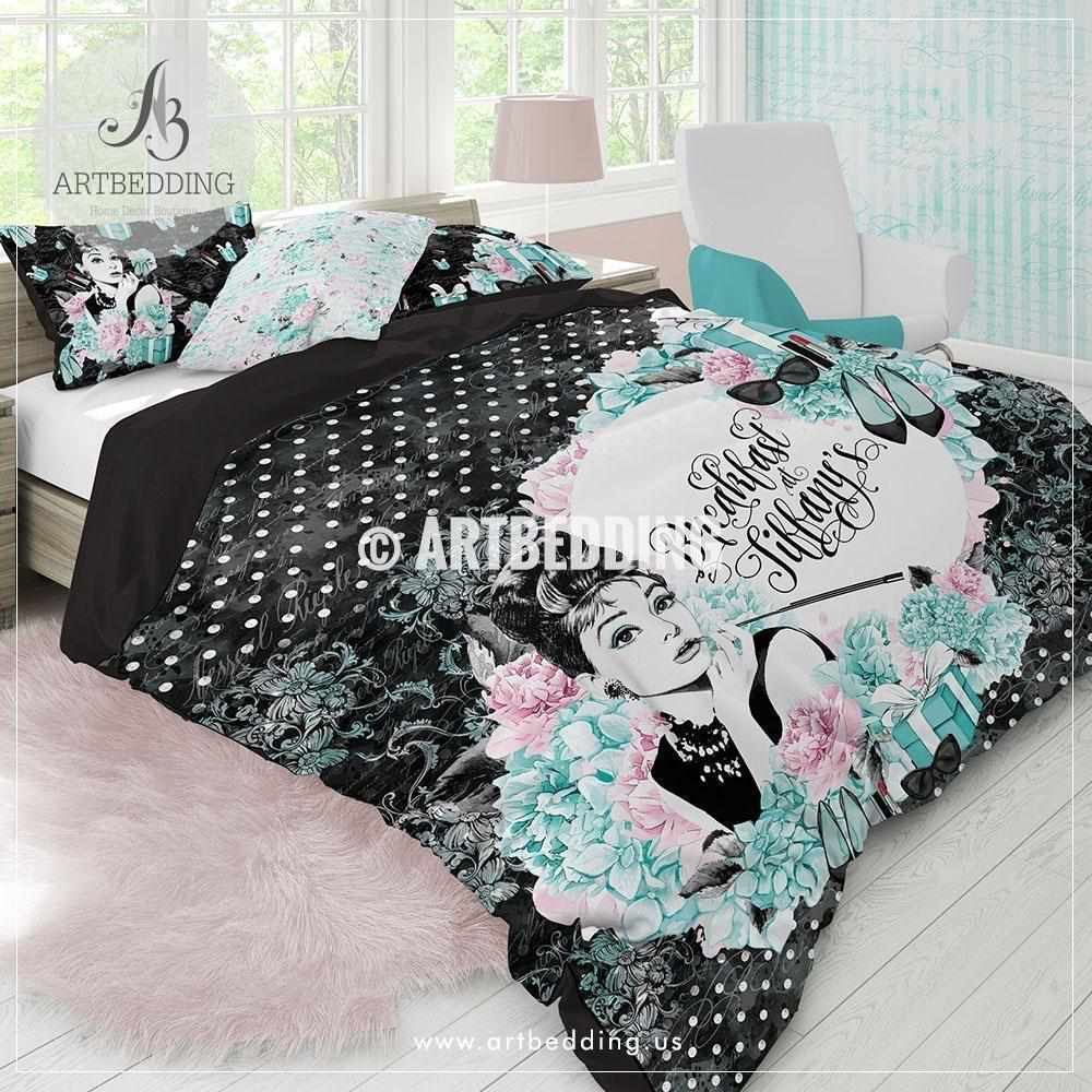 Tiffany Blue Bedroom Accessories Blue Jays Themed Bedroom Bedroom Bench Wood Soft Bedroom Colors: Breakfast At Tiffany's Audrey Bedding Set, Tiffany Blue