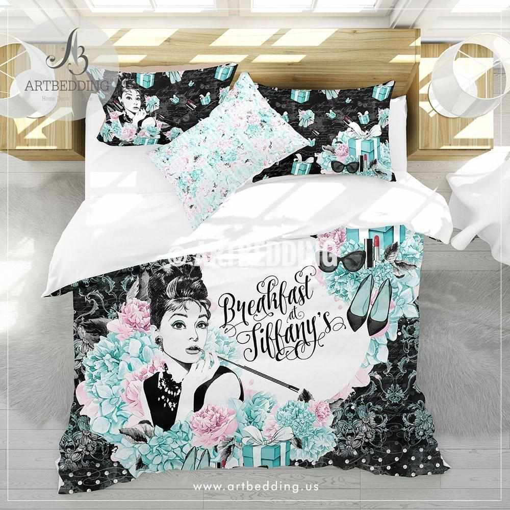 Breakfast at Tiffany's Audrey bedding set, Tiffany blue and blush pink vintage bedding, Tiffany duvet cover set, vintage bedroom decor Bedding set