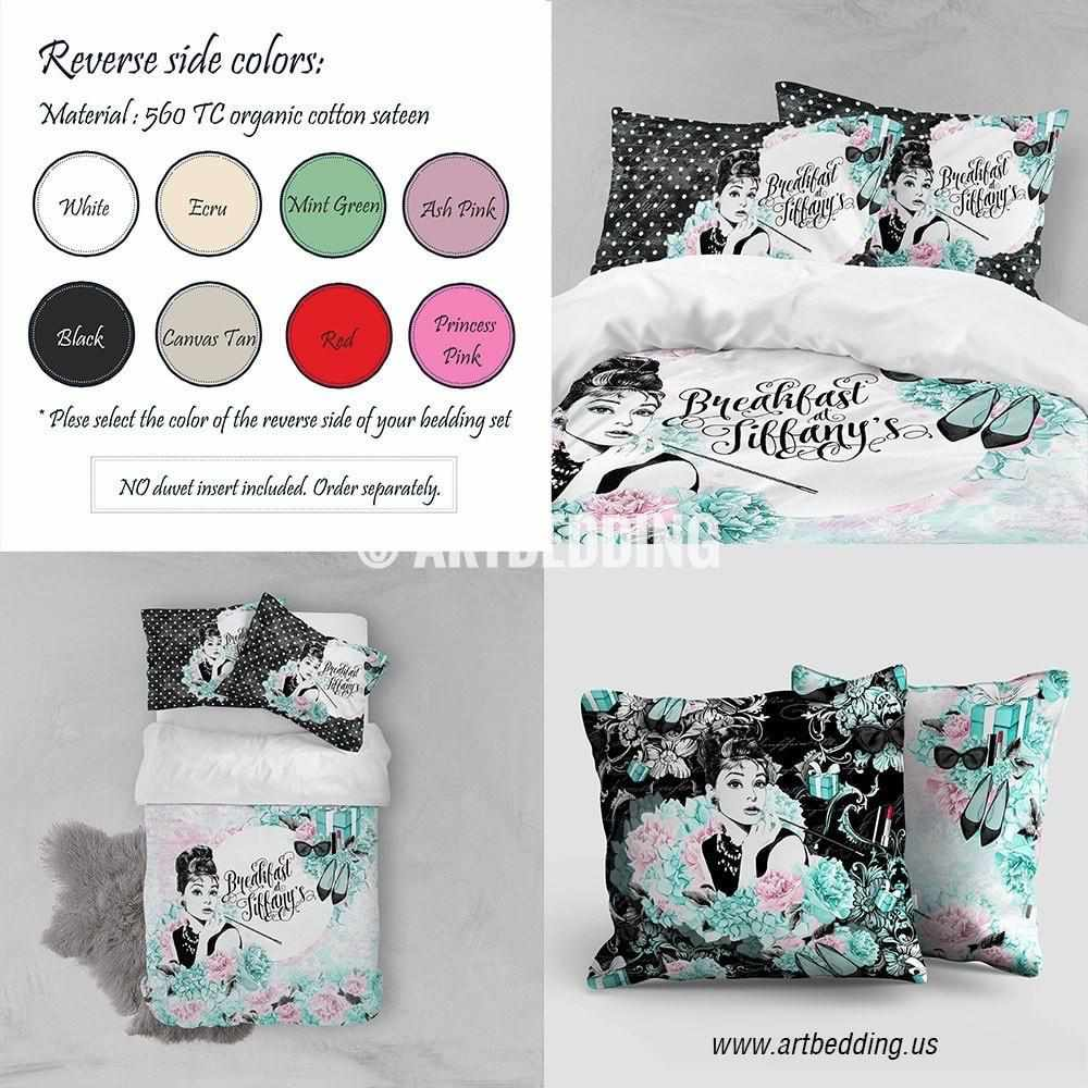 Breakfast at Tiffany's designer art bedding set, Watercolor mint green and pink duvet bedding set, vintage handmade bedding duvet set, designer art bedding, custom bedroom decor