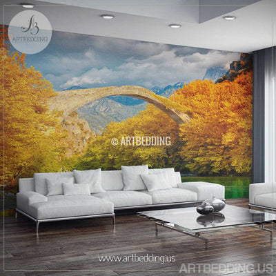 Bridge over river landscape Wall Mural, Autumn landscape of bridge over river photo mural Self Adhesive Peel & Stick, Nature autumn Forest wall mural wall mural