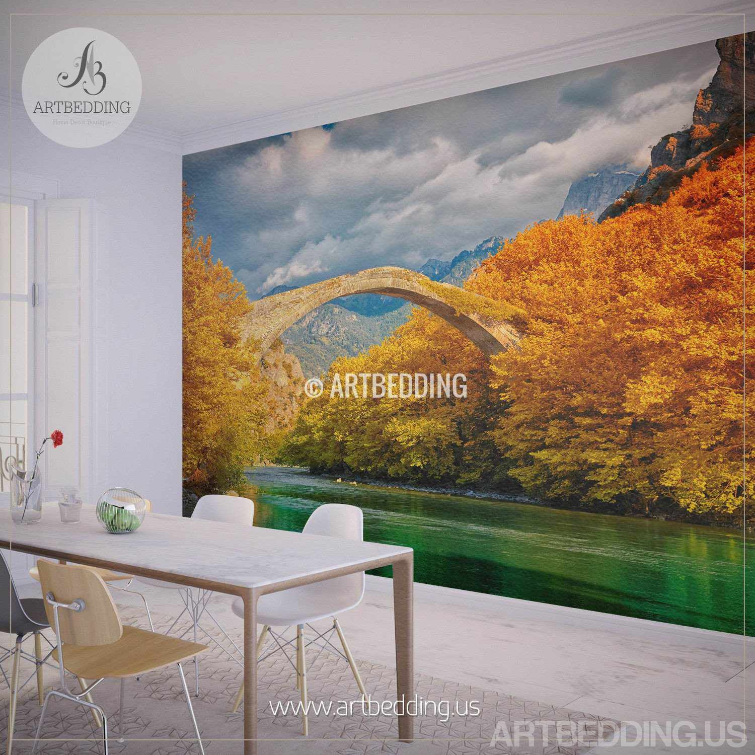 Bridge over river landscape Wall Mural Autumn landscape of bridge