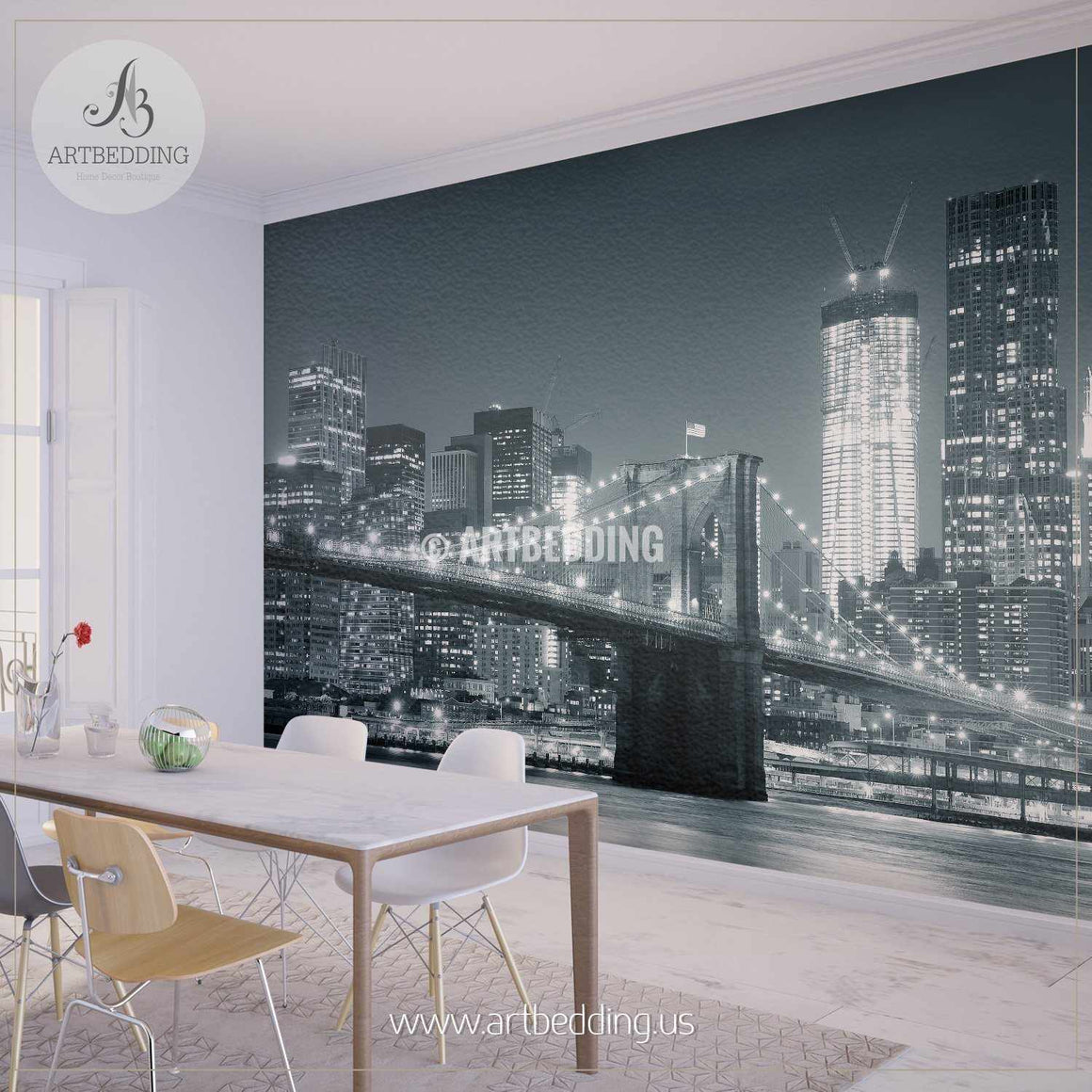 Brooklyn Bridge black and white with downtown skyline over East River Wall Mural, Landmarks Photo Mural, Cityscape photo mural wall mural