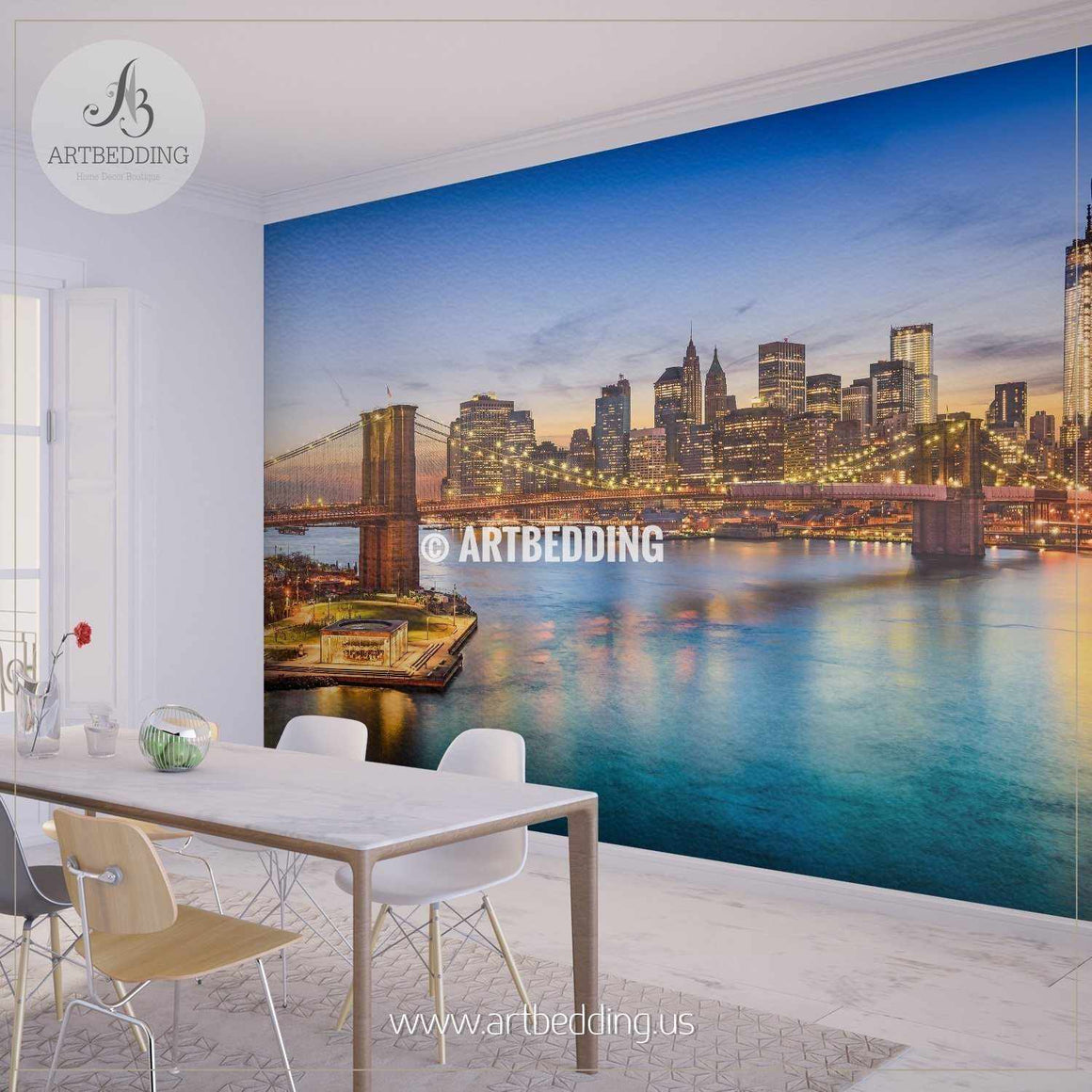 Brooklyn Bridge in New York City Wall Mural, Landmarks Photo Mural, Cityscape photo mural wall mural