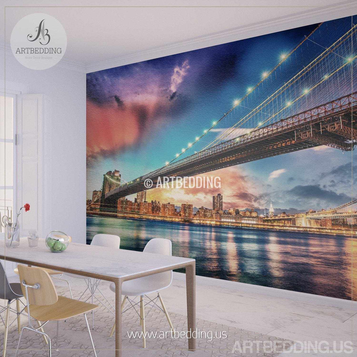 Brooklyn Bridge Wall Mural, New York sunset Photo sticker, New York Downtown skyline wall decor wall mural