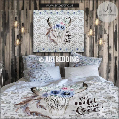 Buffalo skull totem bedding, Watercolor buffalo skull with  meadow flowers duvet bedding set, Spirit totem bedding, Vintage flowers skull bedroom decor Bedding set