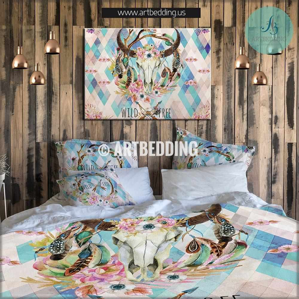 buffalo skull totem dreamcatcher bedding set, watercolor animal