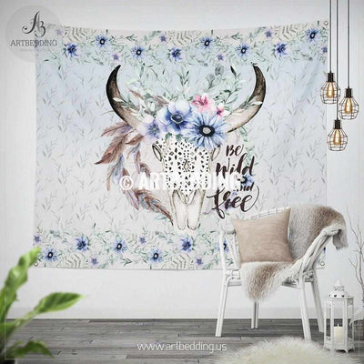 Buffalo skull Totem wall tapestry, Wartercolor Buffalo skull with meadow flowers wall hanging, Spiritual Totem wall art print, Bohemian wall decor Tapestry