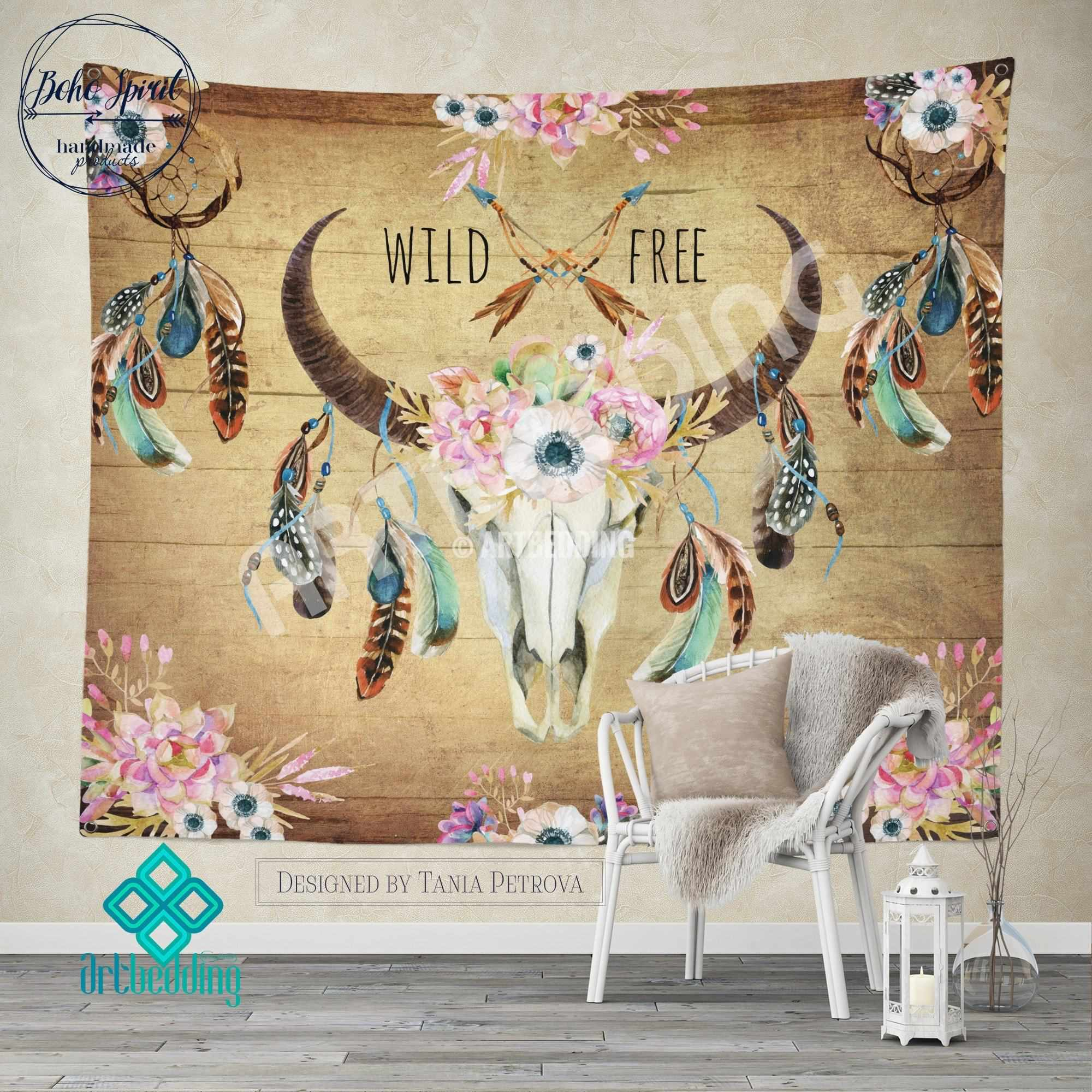 Boho Wall Hanging buffalo totem dreamcatcher wall tapestry, wartercolor buffalo