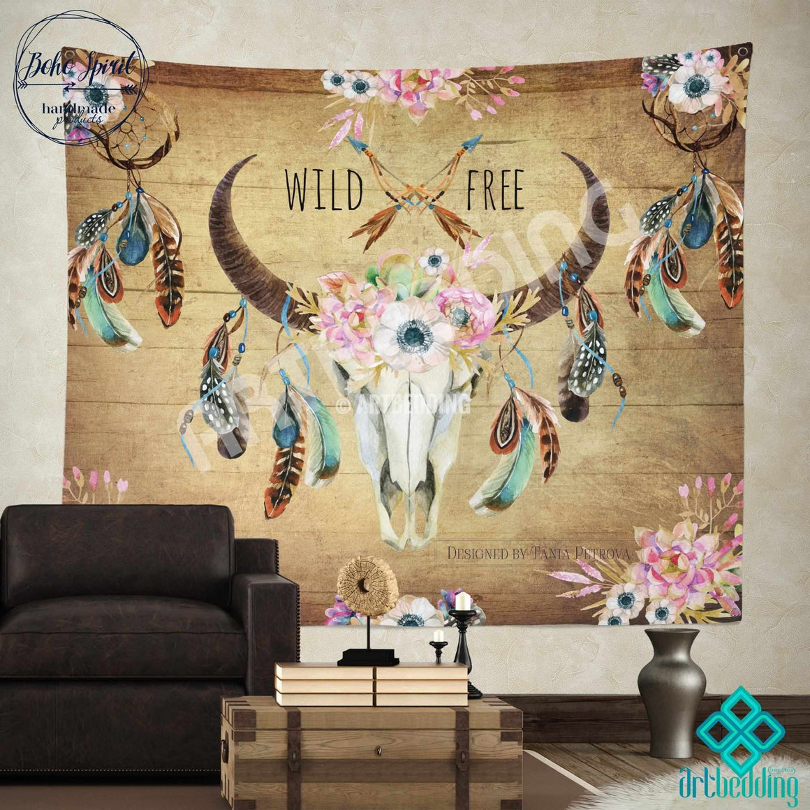 Buffalo Totem Dreamcatcher wall tapestry, Wartercolor Buffalo Skull wall hanging, Buffalo Head hand drawn wildflowers wall art print, Feathers boho wall tapestries