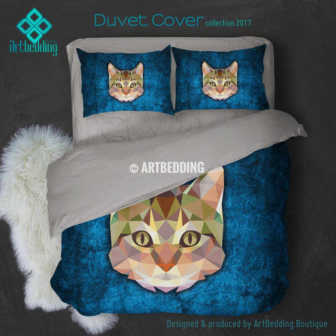 Cat Animal head geometry Duvet cover, Cat Animal totem duvet cover, Cat head animal duvet, custom designer duvet artbedding