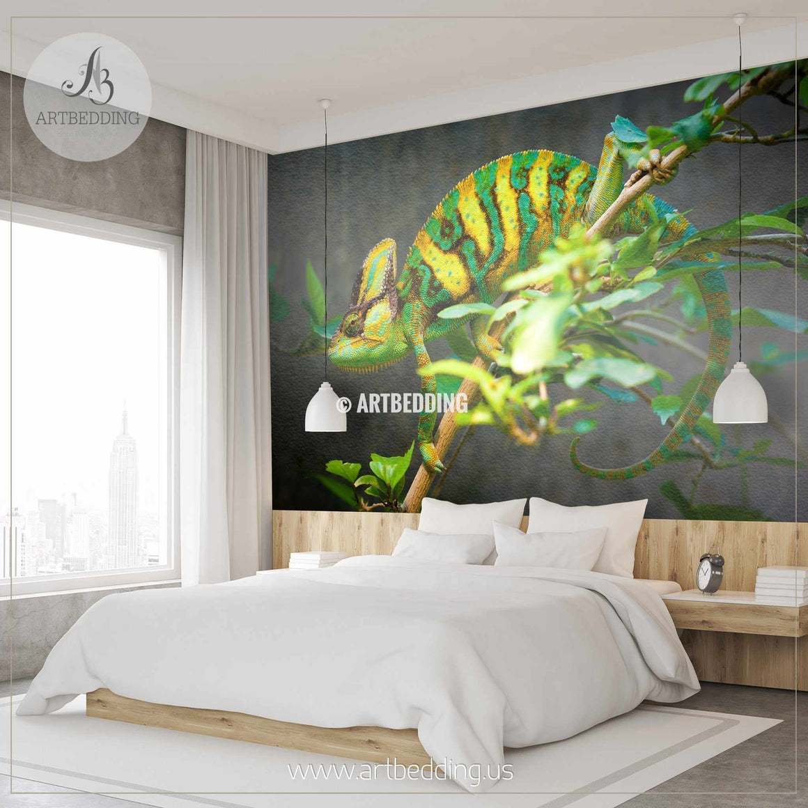 Chameleon Wall Mural, Chameleon Self Adhesive Peel & Stick Photo Mural, Beautiful Chameleon wallpaper wall mural