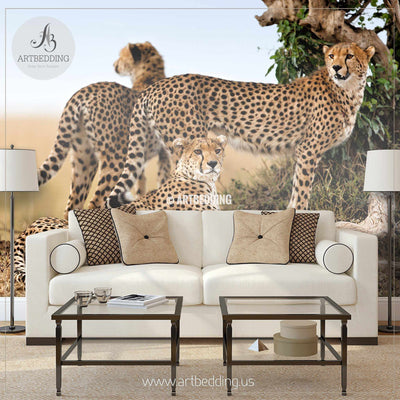 Cheetahs Wall Mural, Cheetahs Self Adhesive Peel & Stick Photo Mural wall mural
