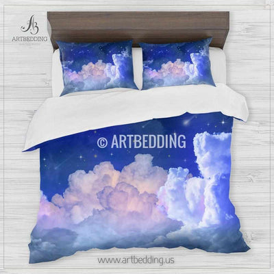 Clouds and stars bedding, Night sky with stars Bedding set, Colorful clouds Duvet cover set, Bedroom clouds spaces, Sky bedding Bedding set