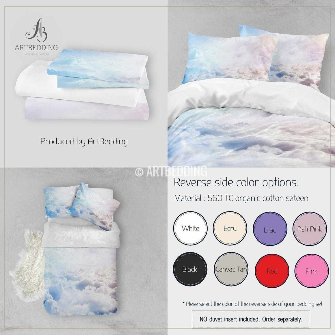 Clouds bedding, Above the clouds Bedding set, White clouds Duvet cover set, Bedroom clouds spaces, Sky bedding Bedding set