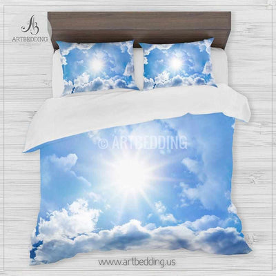 Clouds bedding, Blue sky with white clouds Bedding set, White clouds Duvet cover set, Bedroom clouds spaces, Sky bedding Bedding set