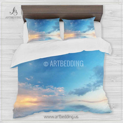 Clouds bedding, Sunrise over ocean with reflections Bedding set, Clouds on a blue sky Duvet cover set, Bedroom clouds spaces, Sunrise bedding Bedding set