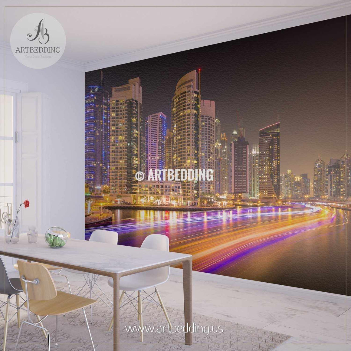 Colorful evening in Dubai Marina,Dubai, United Arab Emirates Wall Mural, Photo Mural, wall décor wall mural