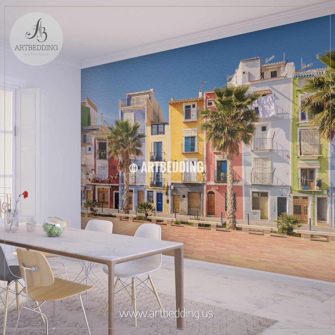 Colorful homes in seaside villa of Villajoyosa in Southern Spain Wall Mural, Landmarks Photo Mural, photo mural wall décor wall mural