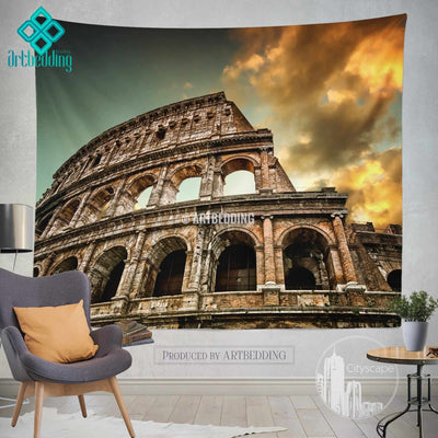 Colosseum Amphitheatre Rome Italy wall tapestry, Colosseum Rome wall tapestry, Rome landmark wall decor, artbedding cityscape landmark wall decor