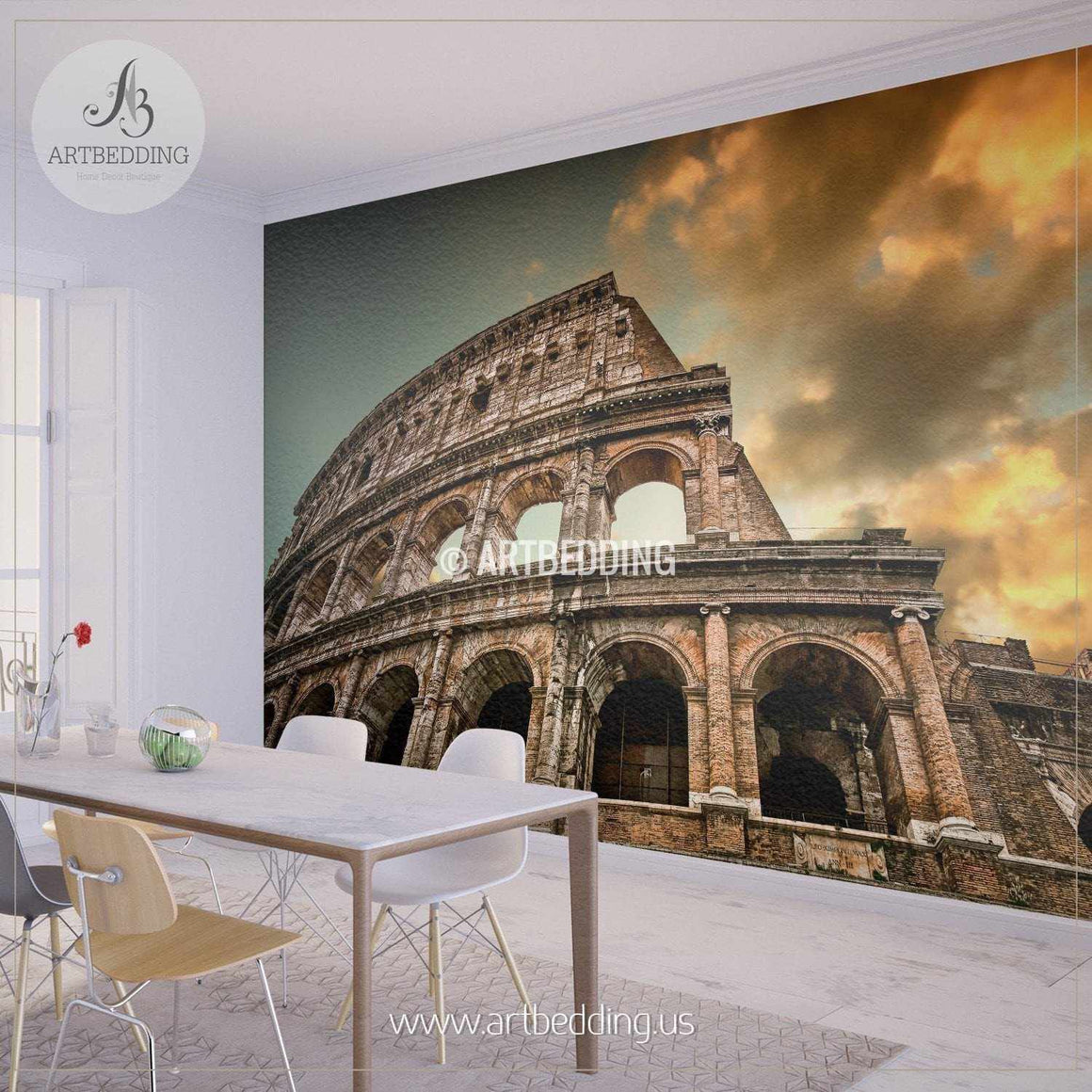 Colosseum in Rome Cityscape Wall Mural, Italy Photo sticker, Italy wall decor wall mural