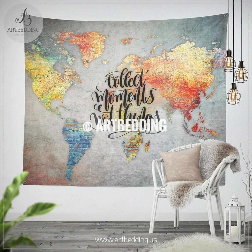 Concrete Wall World Map Inspiration Tapestry Abstract