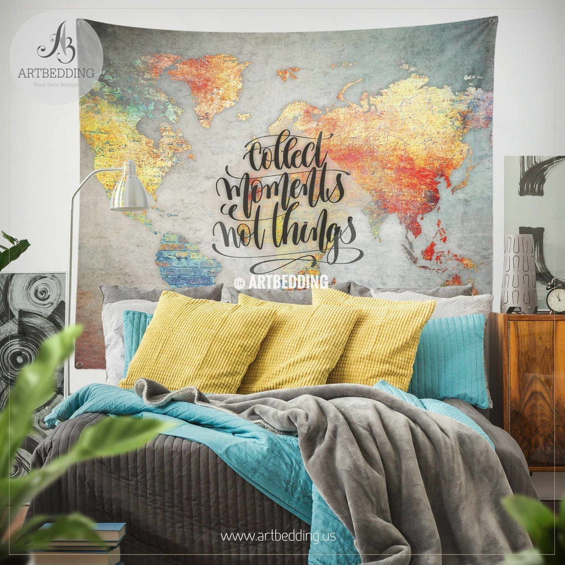 Concrete wall world map Inspiration Tapestry, Abstract world map wall hanging, bohemian travel wall tapestries, boho wall decor Tapestry