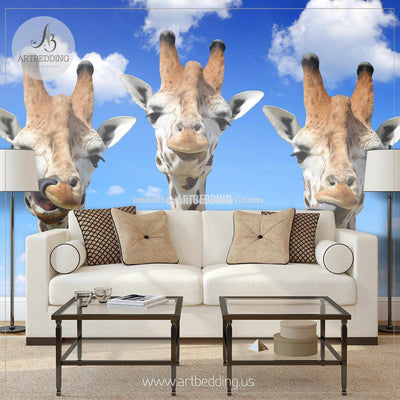 Cute Giraffes Wall Mural, Cute Giraffes Self Adhesive Peel & Stick Photo Mural wall mural