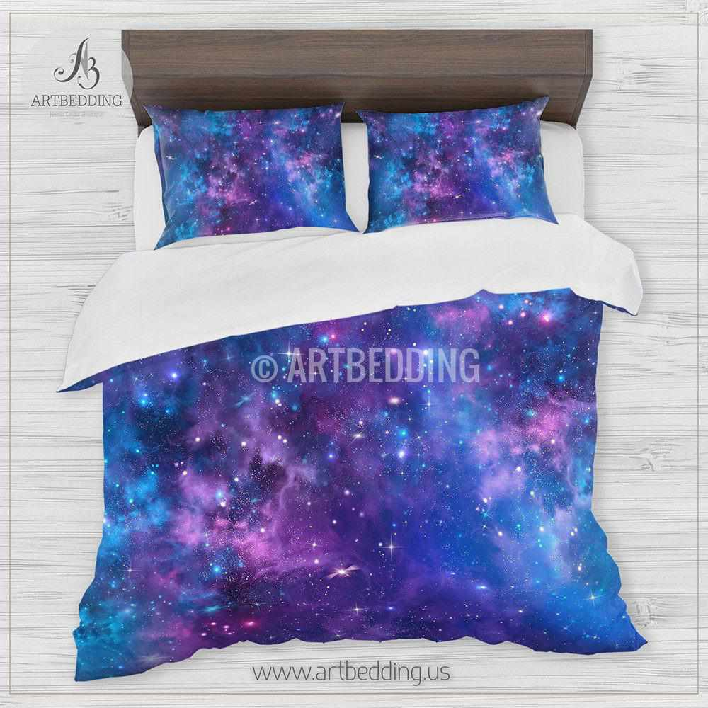 ... Deep Space Bedding Set, Blue And Purple Nebula With Stars Duvet Cover  Set, Galaxy ...