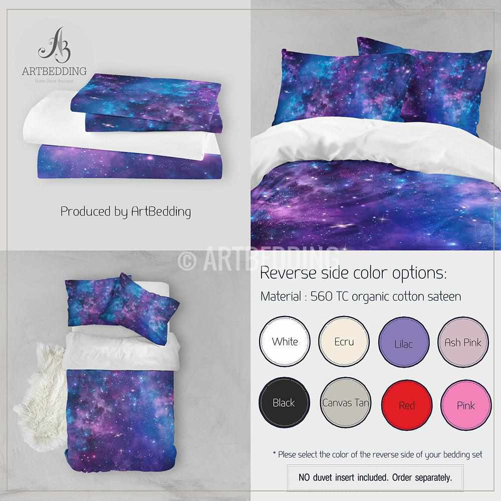 deep space bedding set blue and purple nebula with stars duvet cover set galaxy bedroom decor. Black Bedroom Furniture Sets. Home Design Ideas
