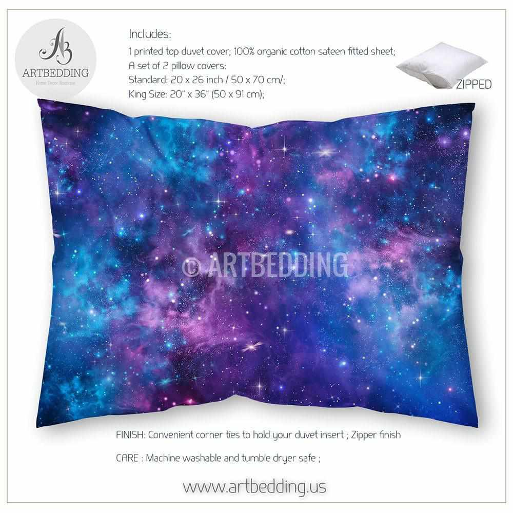 Blue and purple bed sets - Deep Space Bedding Set Blue And Purple Nebula With Stars Duvet Cover Set Galaxy