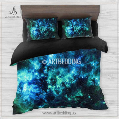 Deep space bedding set, Blue & green Nebula clouds with stars duvet bedding set, Space moon bedroom decor Bedding set