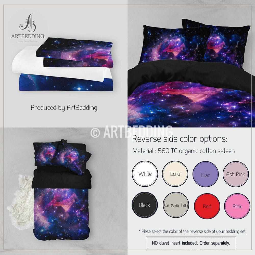 Deep space bedding set, Blue & purple abstract Nebula clouds with stars duvet bedding set, Space moon bedroom decor Bedding set