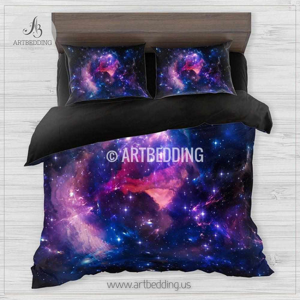 Deep Space Bedding Set Blue Amp Purple Nebula Clouds With