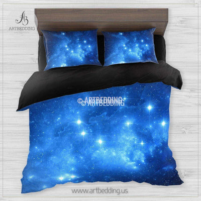 Deep Space bedding set, Blue space clouds with stars duvet cover set, Galaxy bedroom decor Bedding set