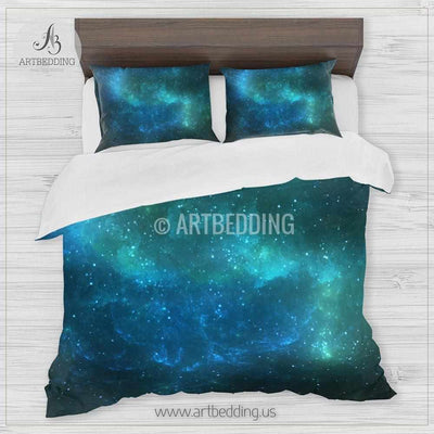 Deep Space bedding set, Fantasy abstract blue and green Nebula clouds with stars duvet cover set, Galaxy bedroom decor Bedding set
