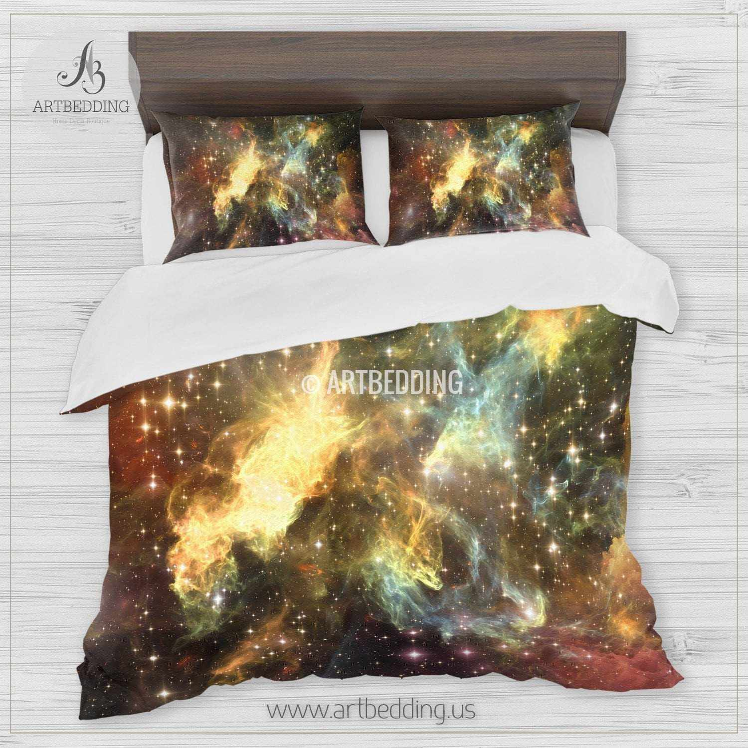 Deep Space Bedding Set Fantasy Abstract Multicolor Nebula
