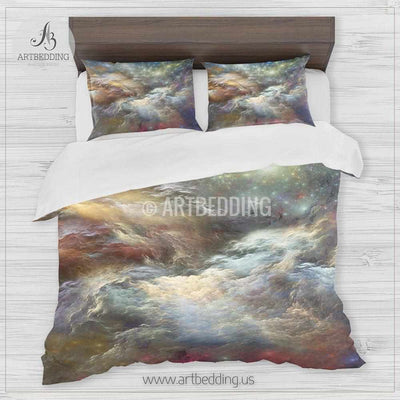 Deep Space bedding set, Fantasy abstract multicolor Nebula clouds with stars duvet cover set, Galaxy bedroom decor Bedding set
