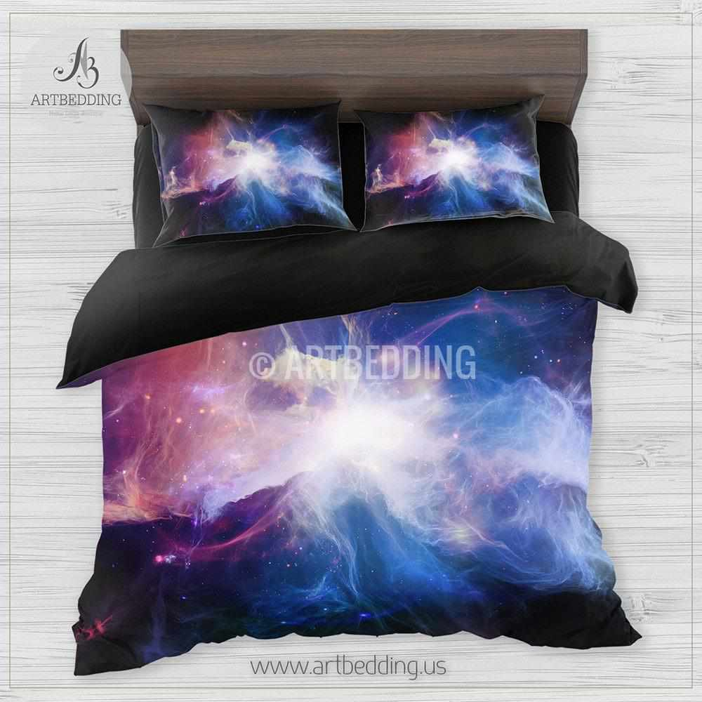 ... Deep Space Bedding Set, Fantasy Abstract Multicolor Nebula With Stars  Duvet Cover Set, Galaxy ...