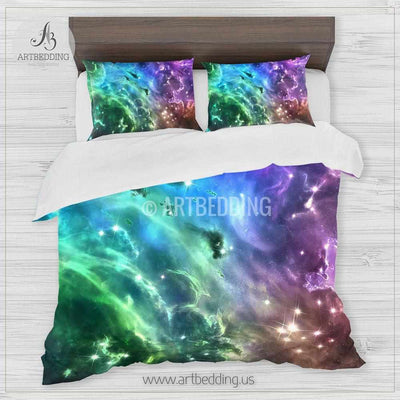 Deep space bedding set, Multicolor vibrant abstract Nebula clouds with stars duvet bedding set, Space moon bedroom decor Bedding set