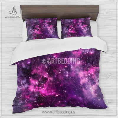 Deep Space bedding set, Purple and pink Nebula with stars duvet cover set, Galaxy bedroom decor Bedding set
